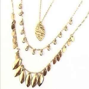 ANN TAYLOR three tier gold & crystal necklace NWT